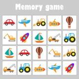 Geheugenspel met beelden - verschillend vervoer voor kinderen, het spel van het pretonderwijs voor jonge geitjes, peuteractivitei vector illustratie