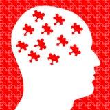 Gehirn als Puzzlespiel-Stücke im Kopf Stockfotografie