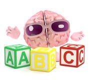 Gehirn 3d lernt das Alphabet Lizenzfreies Stockfoto