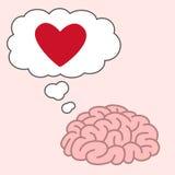 Gehirn denken an rotes Herz Lizenzfreies Stockfoto