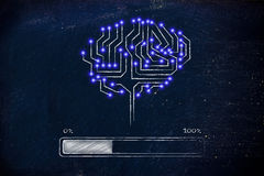 Gehirn der elektronischen Schaltung mit Fortschrittsstangenladen Stockfoto