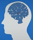 Gehirn-förmiges Labyrinth innerhalb des Kopfes eines Profils Lizenzfreies Stockfoto