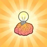 Gehirn-Glühlampe für kreative Ideen-Inspiration Stockbild