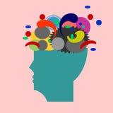 Gehirn hat viele Hormone, die uns glücklich machen stock abbildung