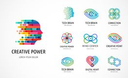 Gehirn, kreative Sinnes-, Lernen- und Designikonen, Logos Bemannen Sie Kopf, Leutesymbole - Vektor auf Lager stock abbildung
