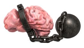 Gehirn mit Fessel, Wiedergabe 3D stock abbildung