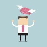 Gehirn mit Flügelfliegenfreiheit von der Geschäftsmannmeditation Stockfotografie