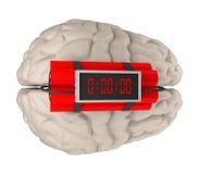 Gehirn mit Wiedergabe der Zeitbombe 3d Stockbilder