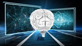 Gehirn und Atome lizenzfreie abbildung