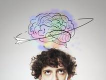 Gehirn und Blitze Lizenzfreies Stockbild