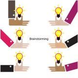 Gehirn und Blitze Teamwork- und Partnerschaftssymbol kreativ Lizenzfreies Stockbild