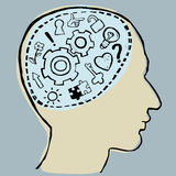 Gehirn und Ideen fließen stock abbildung
