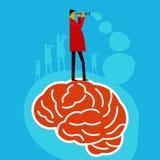 Gehirn, welches die Idee schaut mit Teleskop sucht lizenzfreie abbildung
