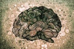 Gehirngekritzelillustration mit Beschaffenheiten stock abbildung
