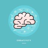 Gehirnikone, flache Designlinie Artfahne Lizenzfreies Stockbild