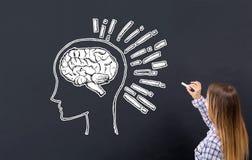 Gehirnillustration mit junger Frau stockfoto