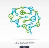 Gehirnkonzept mit medizinischem, Gesundheit, Gesundheitswesenikonen lizenzfreie abbildung