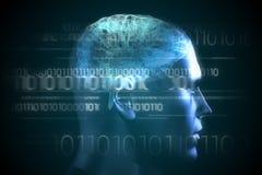 Gehirnschnittstelle im Blau mit binär Code Stockbild