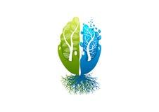 Gehirnsorgfaltlogo, gesunde Psychologieikone, Alzheimer-Symbol, Natursinneskonzeptdesign Lizenzfreies Stockbild