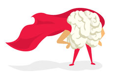 Gehirnsuperheld mit dem stolz stehenden Kap Stockfoto