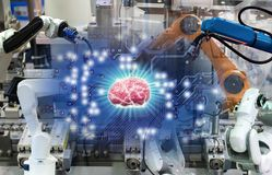 Gehirntechnologie ai-Zyklussteuerroboter die Roboter der Fertigungsindustrie und das mechanisch lizenzfreies stockfoto
