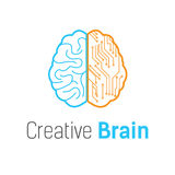 Gehirntechnologievektorlogo-Designschablone Lizenzfreies Stockbild
