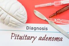 Gehirnzahl, chirurgisches Skalpell, Spritze und Phiolen, die um Titel Diagnose Pituitary Adenoma liegen Konzeptfoto für Diagnose, Stockbilder