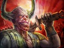 Gehoornde demonridder met een groot zwaard op zijn schouder vector illustratie