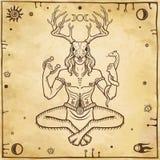 Gehoornde god Cernunnos Esoterische mystiek, heidendom, occultisme stock illustratie