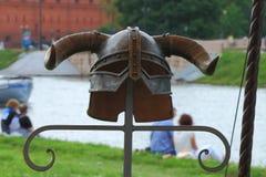 Gehoornde helmclose-up Stock Afbeelding