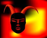 Gehoornde masker rituele antiquiteit in de Afrikaanse stijl Gouden Hoornen royalty-vrije illustratie