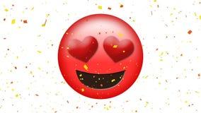 Gehouden omhoog van emoji met hartogen