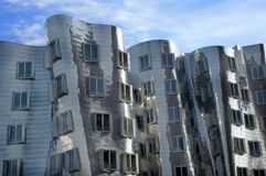 Futuristic Gehry houses in Medienhafen in Düsseldorf, germany royalty free stock images