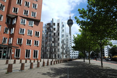 Gehry houses in Duesseldorf. The Gehry buildings are considered Düsseldorf's new landmark Royalty Free Stock Photo