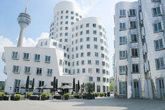 Gehry Buildings and Rhine Tower Duesseldorf Royalty Free Stock Images