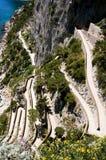 Gehweg auf der Küste der Insel von Capri Stockbild