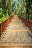 Gehweg in den publuc Tempel im Wald, der mit Ziegelsteinboden und Stahlzaun konstruierte Stockfoto