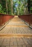 Gehweg in den Tempel im Wald, der mit Ziegelsteinboden und Stahlzaun konstruierte Lizenzfreie Stockfotografie