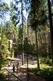 Gehweg durch Felsen-Stadtpark in Adrspach, Tschechische Republik Lizenzfreie Stockfotografie