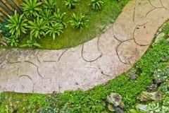 Gehweg in einem dekorativen Garten Stockfotografie