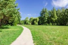 Gehweg im Park nahe bei dem Wald und der Wiese Lizenzfreie Stockfotografie