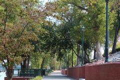 Gehweg neben einem Fluss mit Bäumen und Stützmauer des Ziegelsteines stockfoto