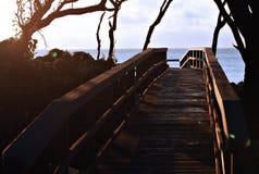Gehweg am Sonnenaufgang Stockbilder