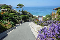 Gehweg zu Crescent Beach im Laguna Beach, Kalifornien Stockfotos
