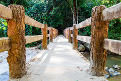 Gehwegbetonbrücke über Strom im Wald Stockfotografie