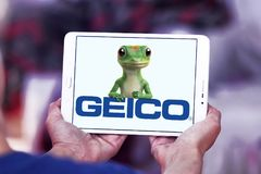 GEICO Insurance Company logo. Logo of GEICO Insurance Company on samsung tablet. GEICO, Government Employees Insurance Company, is an American auto insurance Royalty Free Stock Image