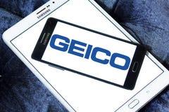 GEICO Insurance Company logo. Logo of GEICO Insurance Company on samsung mobile on samsung tablet. GEICO, Government Employees Insurance Company, is an American Stock Photos