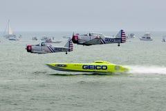 Geico Skytypers die Precisie Luchtmanoeuvres in Atlantic City voorvormt royalty-vrije stock afbeeldingen