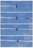 The Geico Skytypers flying preforming Knife Pass precision aerial maneuvers Stock Image