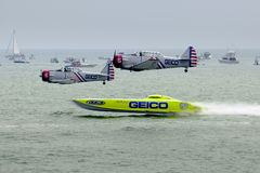 The Geico Skytypers Preforming Precision Aerial Maneuvers in Atlantic City royalty free stock images
